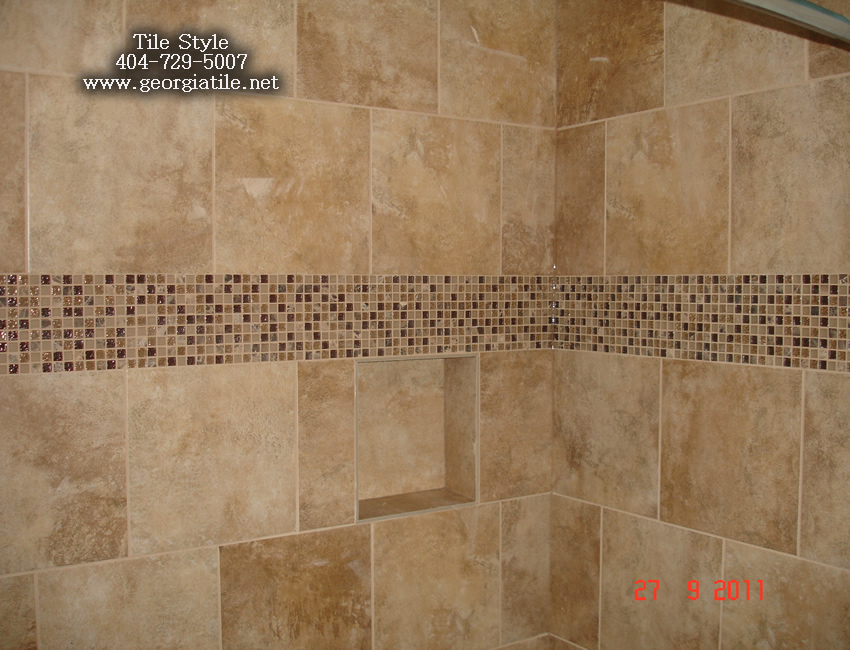 Tile style travertine tub shower remodel alpharetta ga for Travertine tile designs