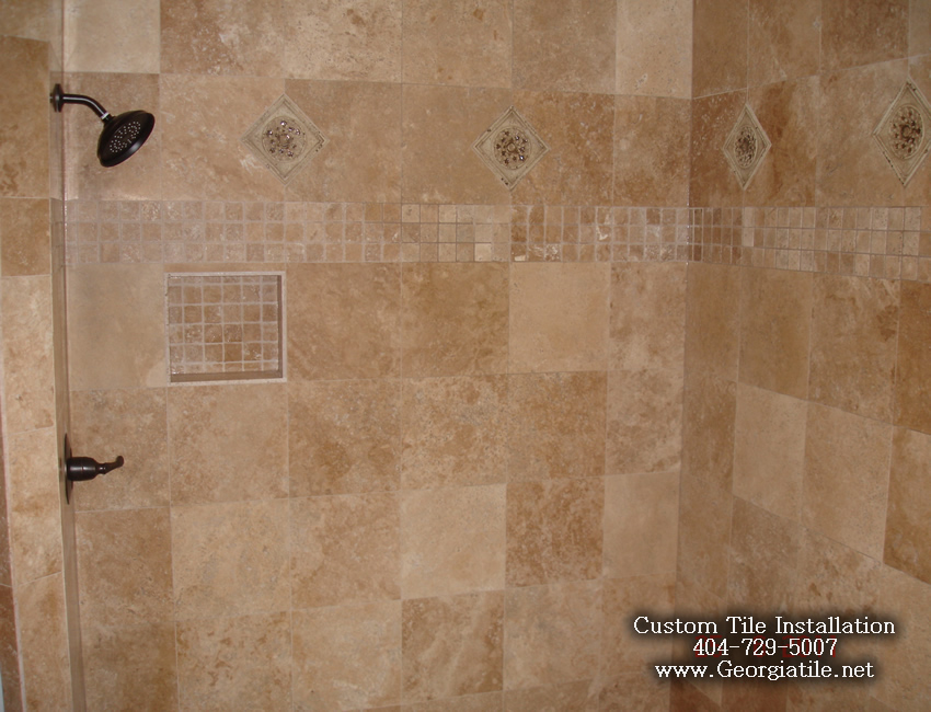 Travertine shower ideas home design for Travertine tile designs