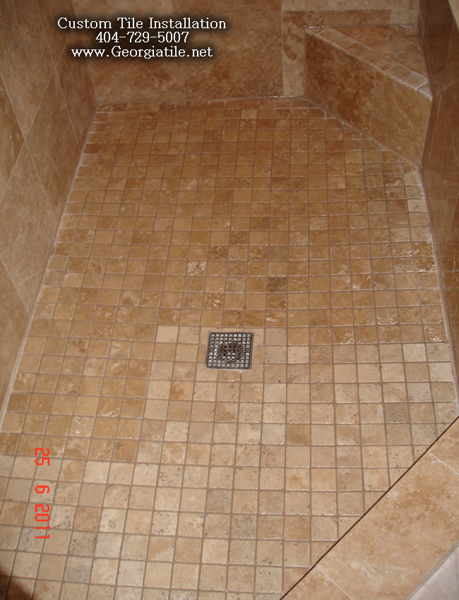 Book of bathroom tub tiles ideas in us by james for Travertine tile bathroom gallery