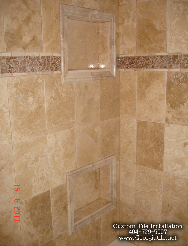 Tub shower travertine shower ideas pictures for Travertine tile designs