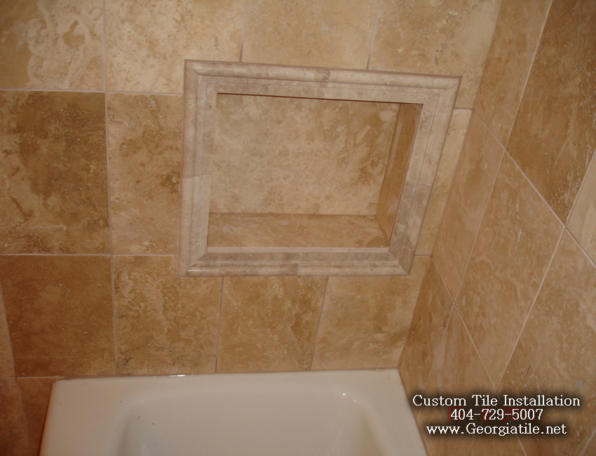 Tub shower travertine shower ideas pictures for Travertine tile bathroom gallery