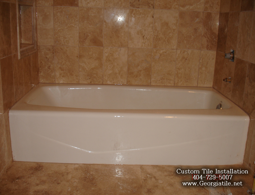 Tub shower travertine shower ideas pictures for Bathroom bathtub remodel ideas